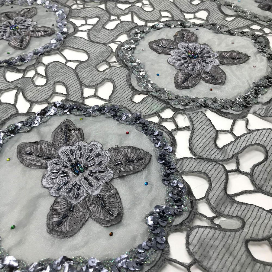 Grey Daffodil Lace with Sequins