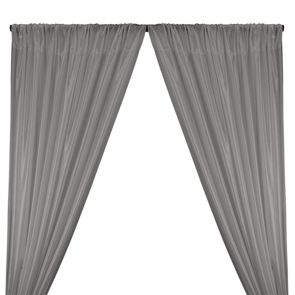 Poly China Silk Lining Rod Pocket Curtains - Grey