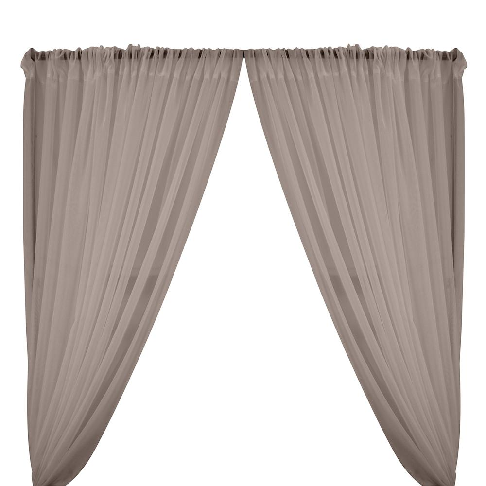 Sheer Voile Rod Pocket Curtains - Grey