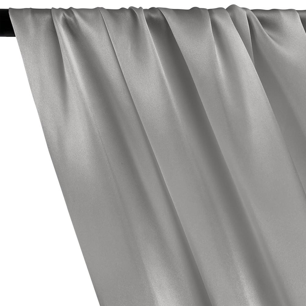Silk Charmeuse Rod Pocket Curtains - Grey