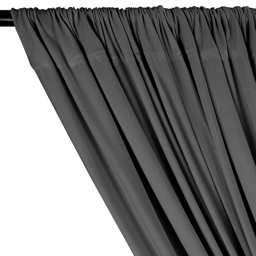 Cotton Jersey Rod Pocket Curtains - Heather Grey (Dark)