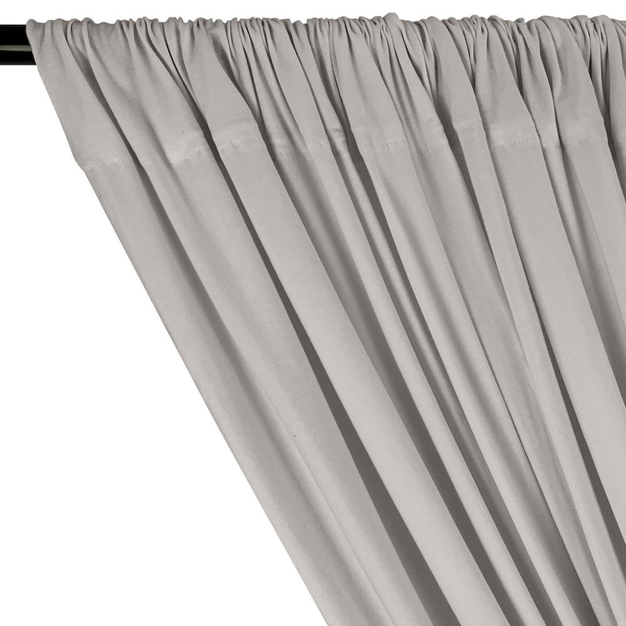 Cotton Jersey Rod Pocket Curtains - Heather Grey (Light)