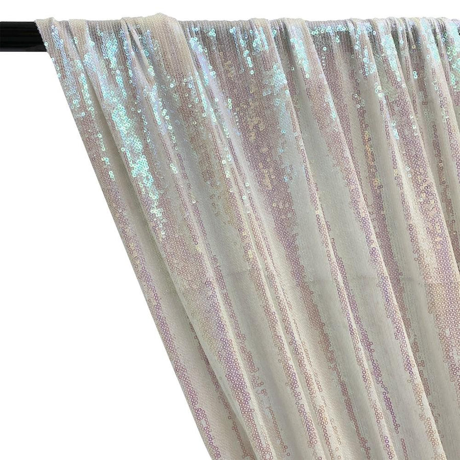 All-Over Micro Sequins Starlight On Stretch Mesh Rod Pocket Curtains - Hologram White
