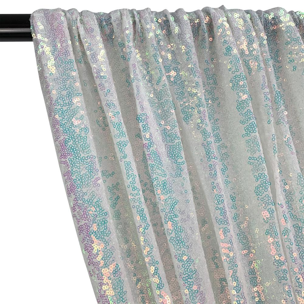 Zigzag Micro Sequins Starlight Rod Pocket Curtains - Hologram White