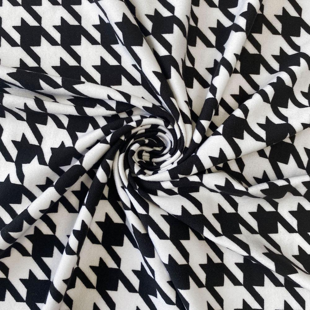Black Houndstooth Print DTY Brushed (10-4)
