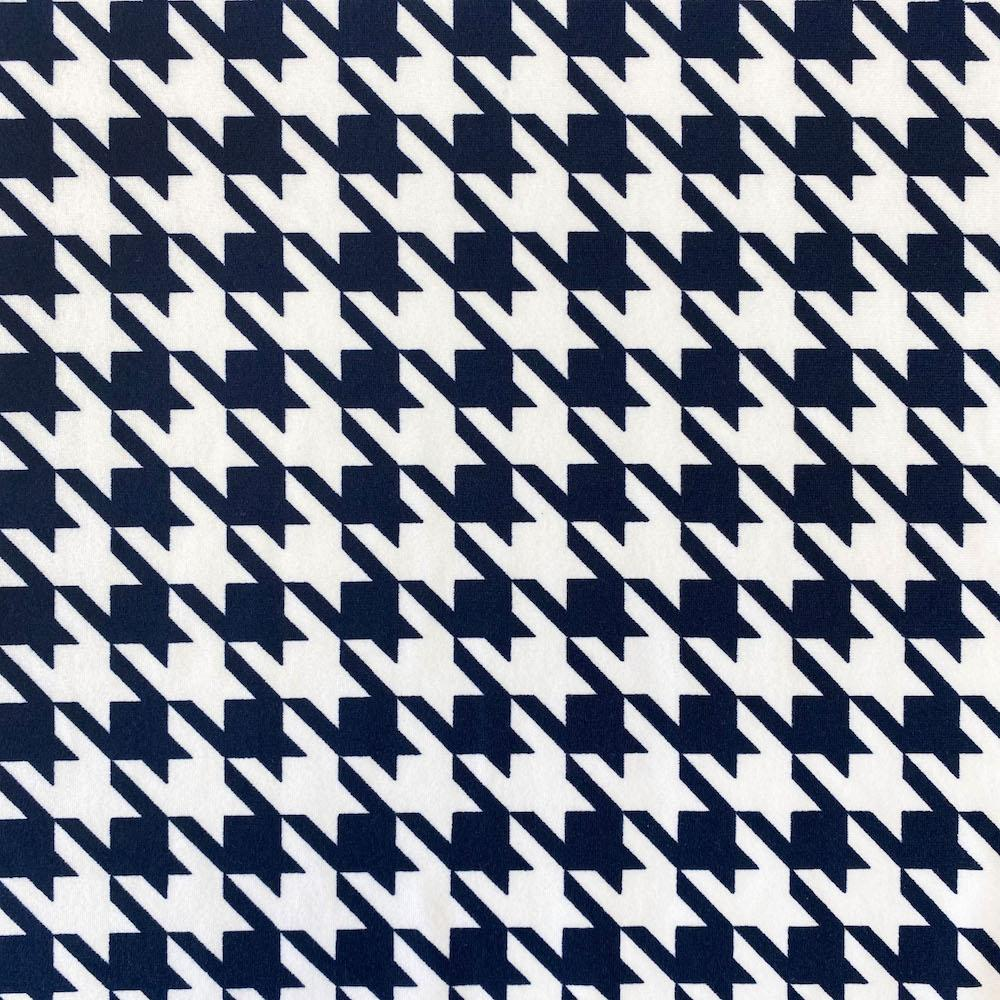 Navy Houndstooth Print DTY Brushed (10-6)