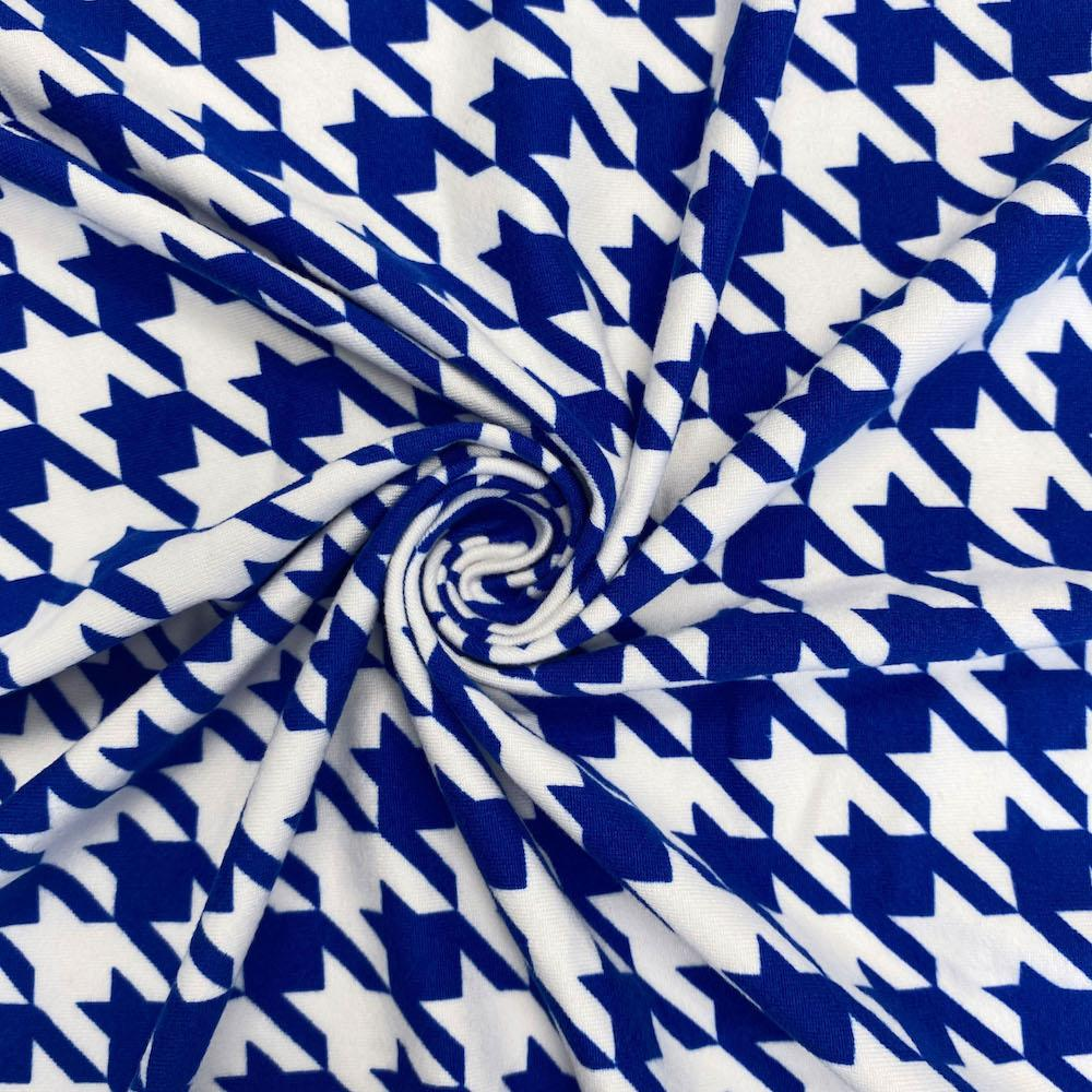 Royal Blue Houndstooth Print DTY Brushed (10-5)