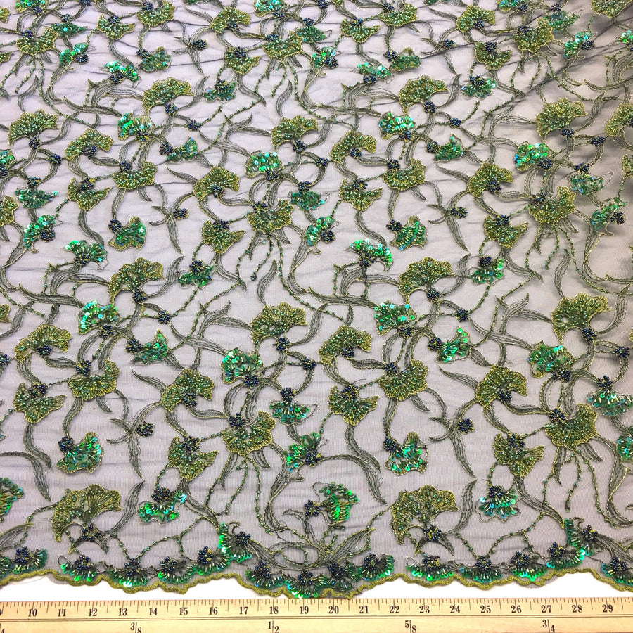 Hunter Green Atlantis Beaded Bridal Lace Fabric