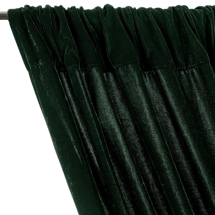 Micro Velvet Rod Pocket Curtains - Hunter Green