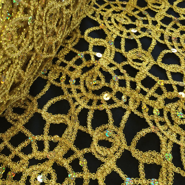 Gold Corded Sequin Lace Fabric Wholesale Direct