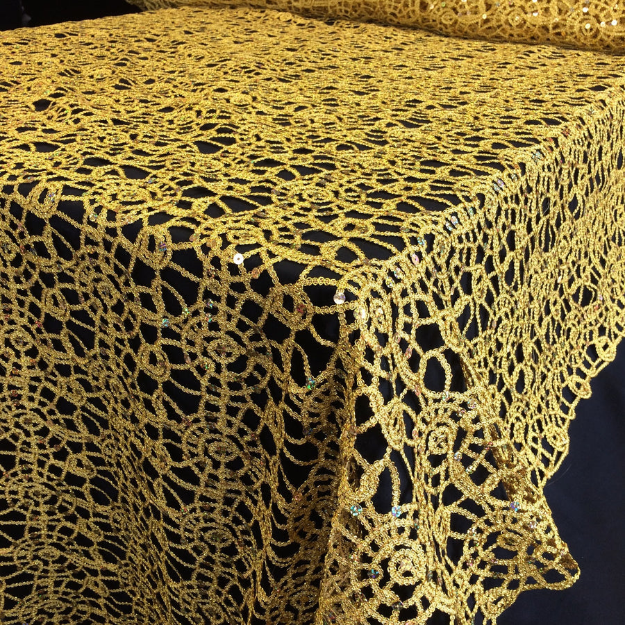 Gold Corded Sequin Lace Fabric