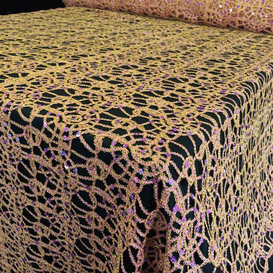 Pink Gold Corded Sequin Lace Fabric