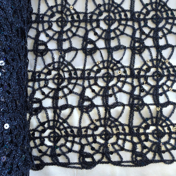 Navy Blue Corded Sequin Lace Fabric