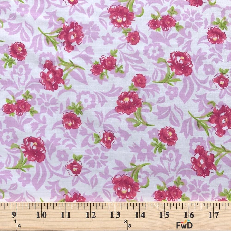 Anna Lilac Print Broadcloth Fabric
