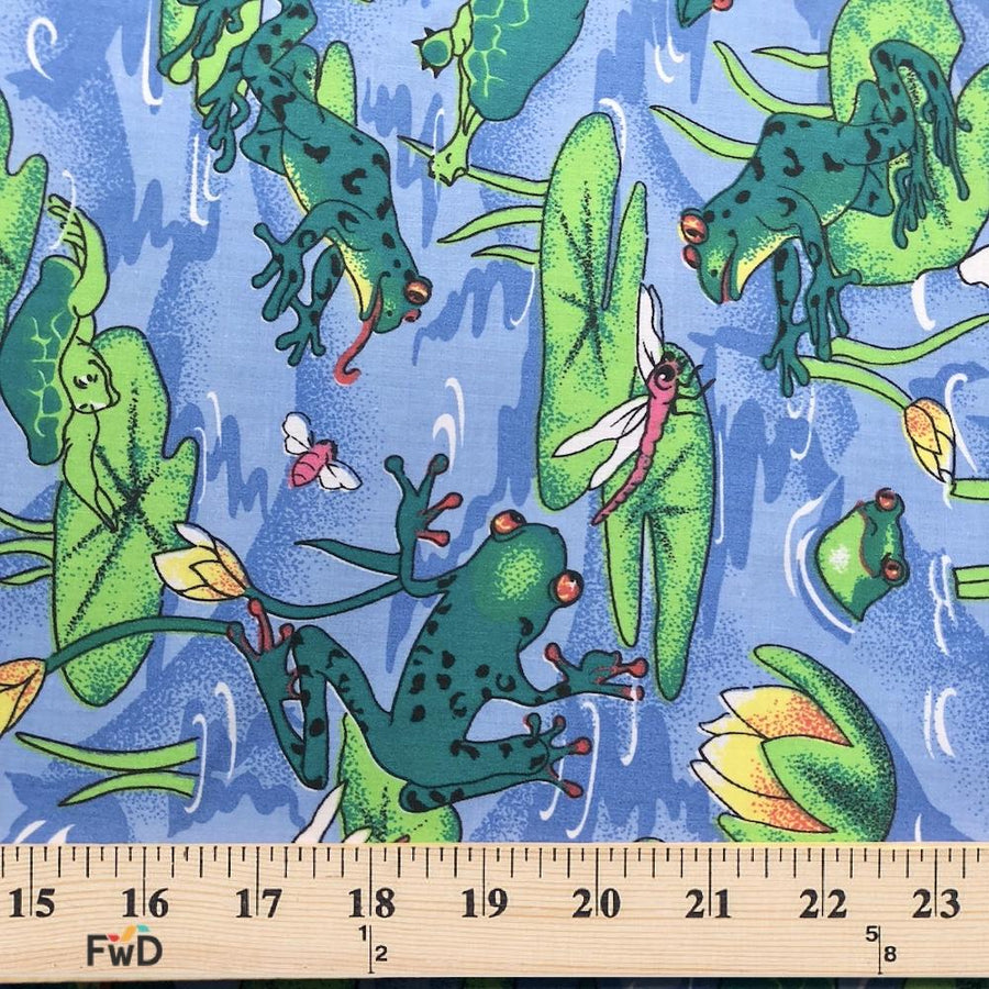Frog Pond Blue Print Broadcloth Fabric
