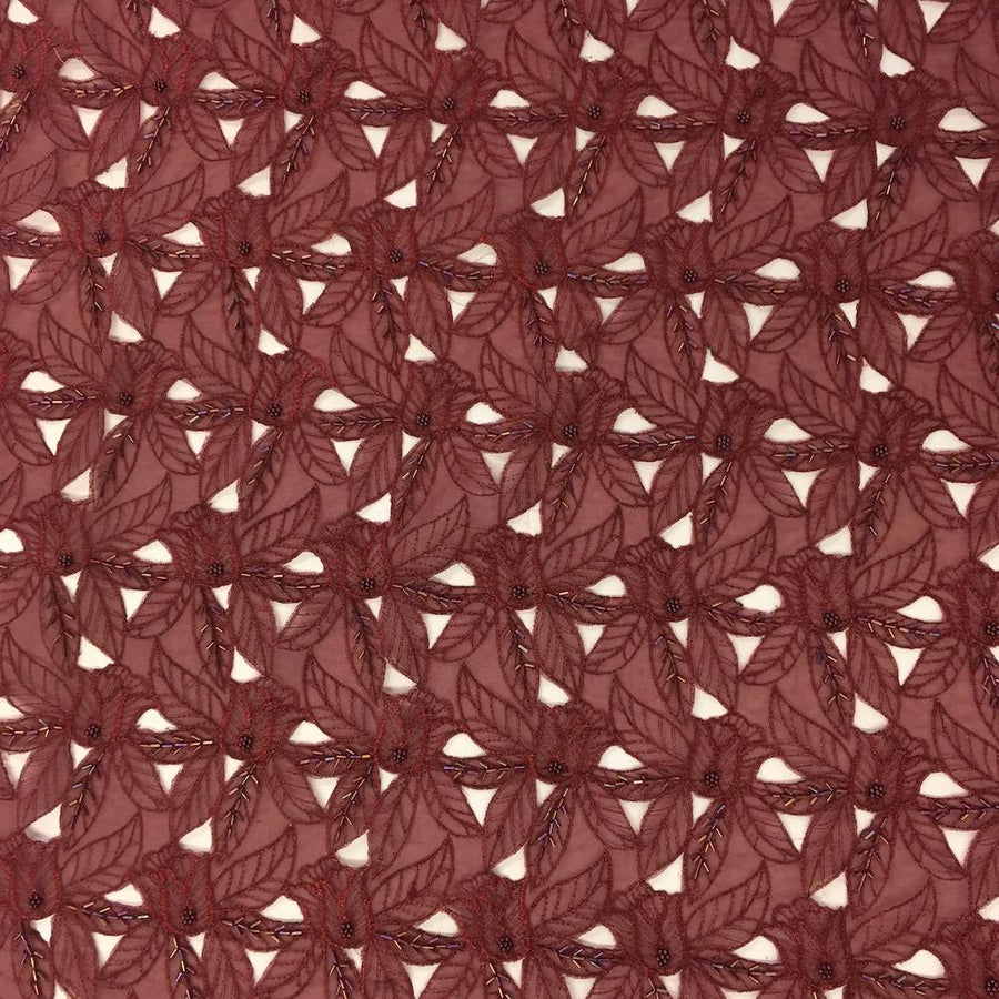 Burgundy Beaded Autumn Lace on Mesh Fabric