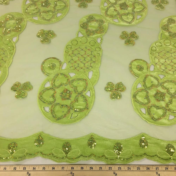 Lime Circle Embroidery Lace on Mesh Fabric