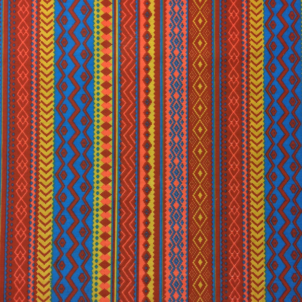 Red Aztec Print Fabric Cotton Broadcloth 2 99 Yard