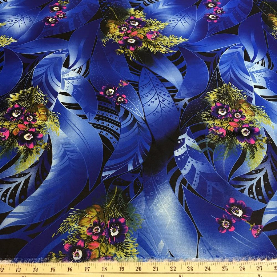 Stacy Blue Printed Charmeuse