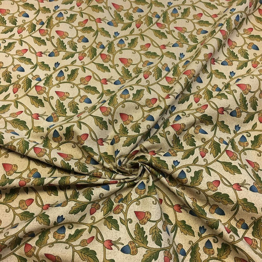 Acorn Tan Printed Cotton Fabric