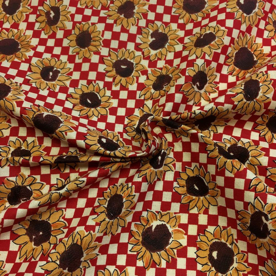 Sunflower Red Printed Cotton