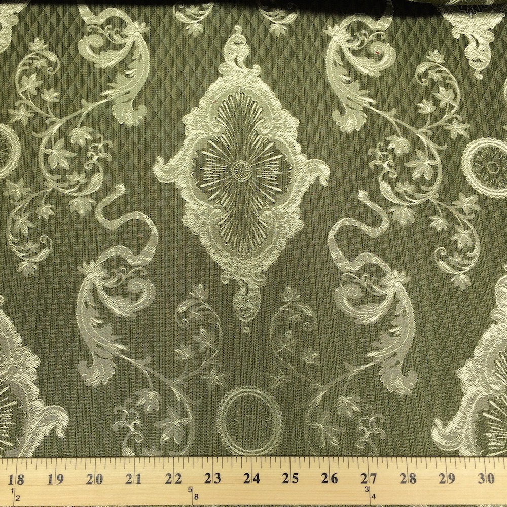 Sage Green Amp Gold Jacquard Damask Print Fabric 120 Quot Wide