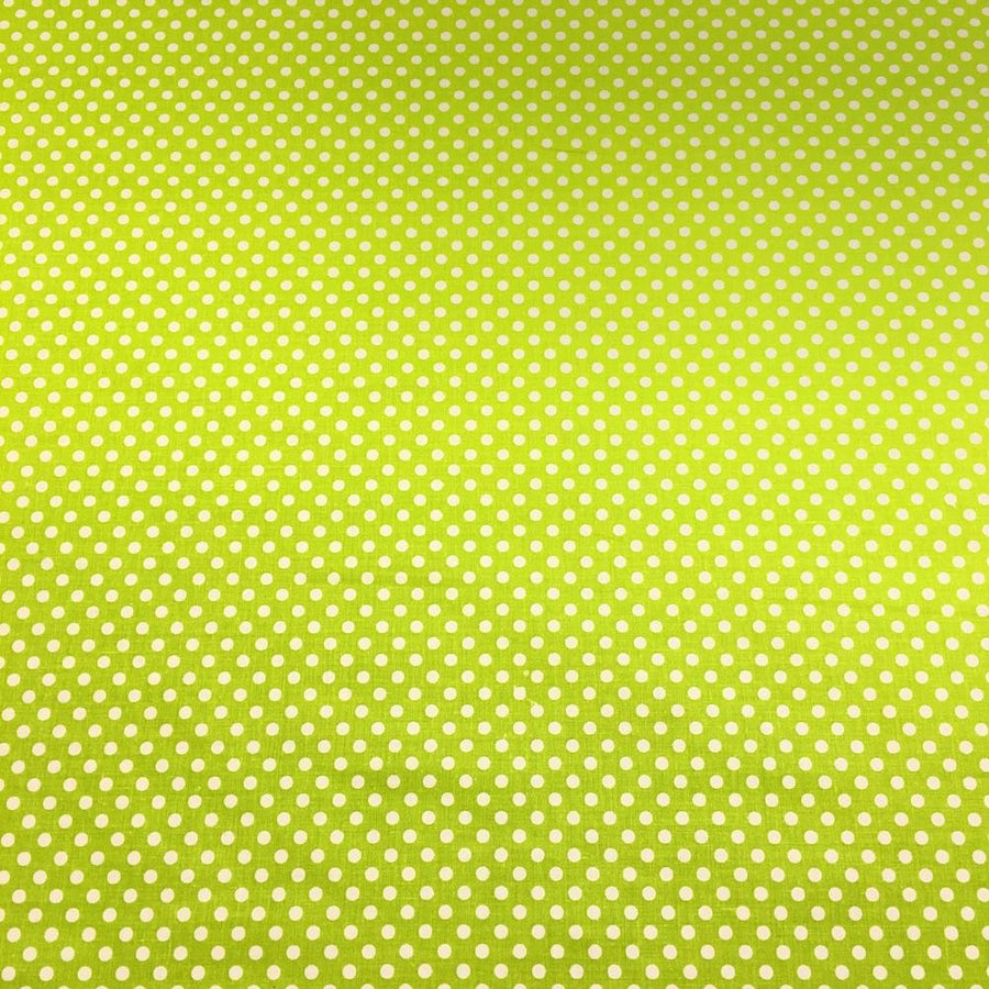 Lime Polka Dot Printed Cotton Fabric