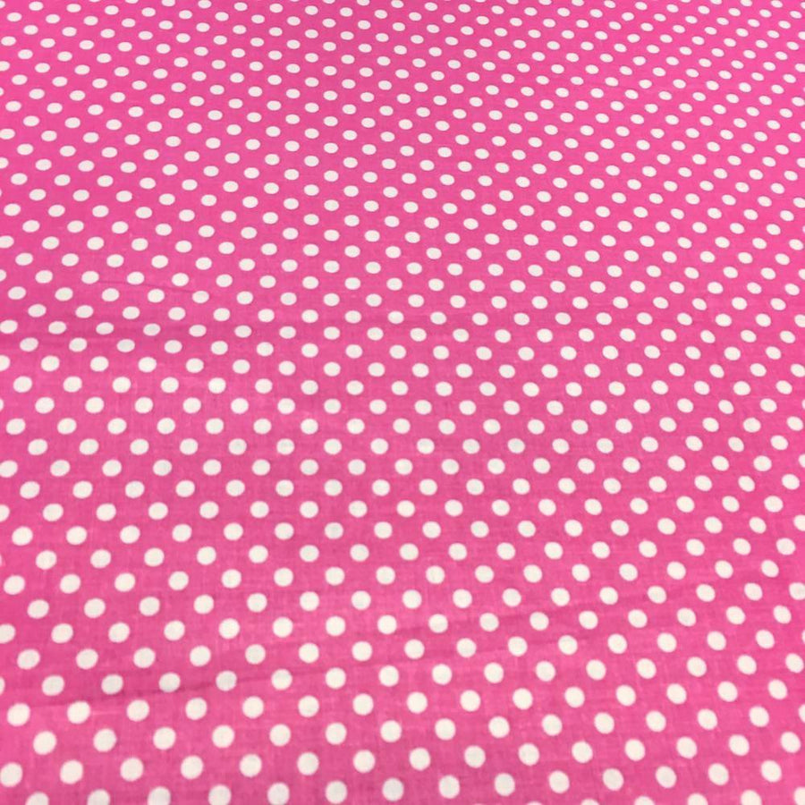 Pink Polka Dot Printed Cotton