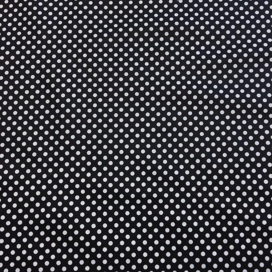 Black Polka Dot Printed Cotton Fabric