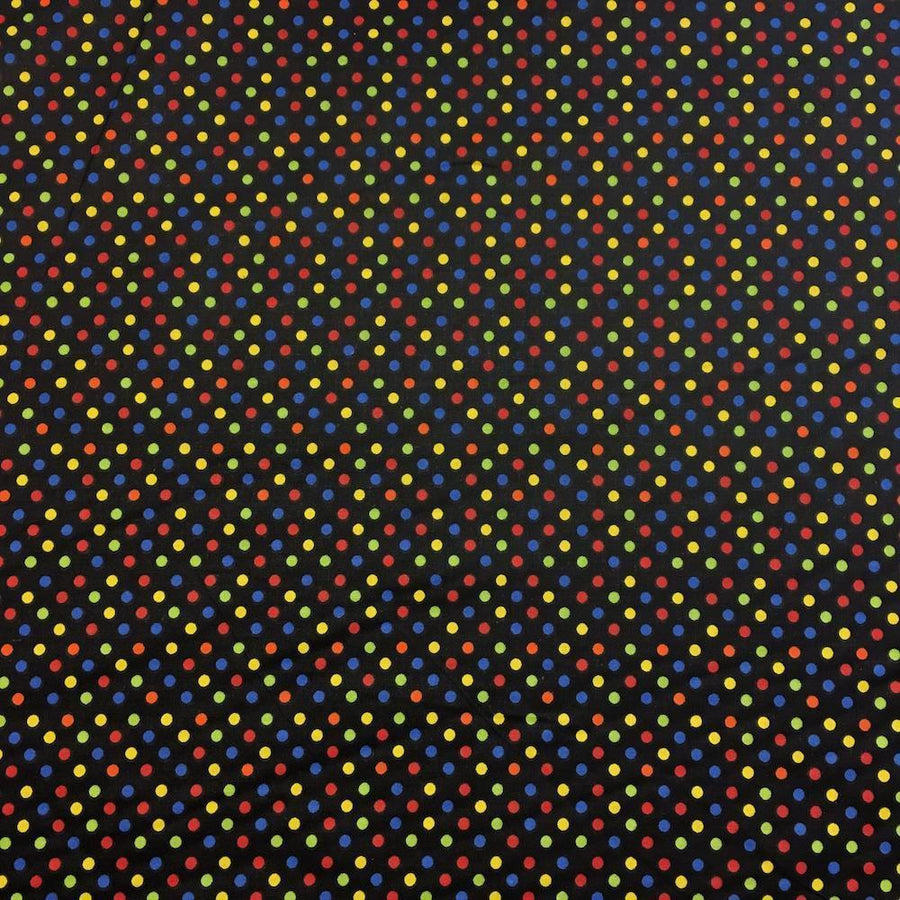 Black Multi Dot Printed Cotton Fabric