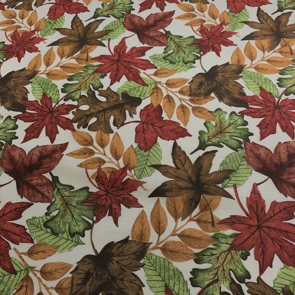 Crackle Leaves Ivory Printed Cotton Fabric