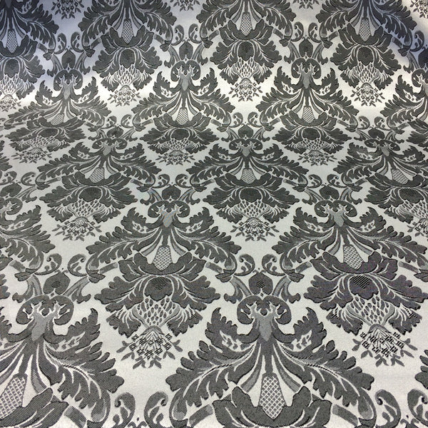 White Amp Black Jacquard Damask Print Fabric 120 Quot Wide