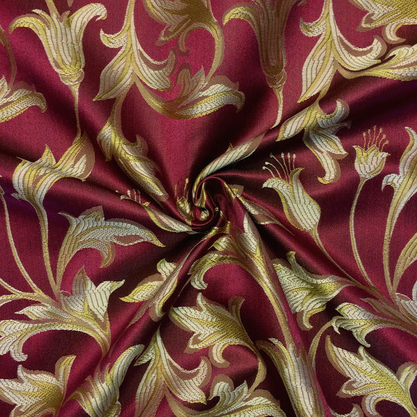 Jacquard Damask Print Fabric Burgundy Gold For Curtains