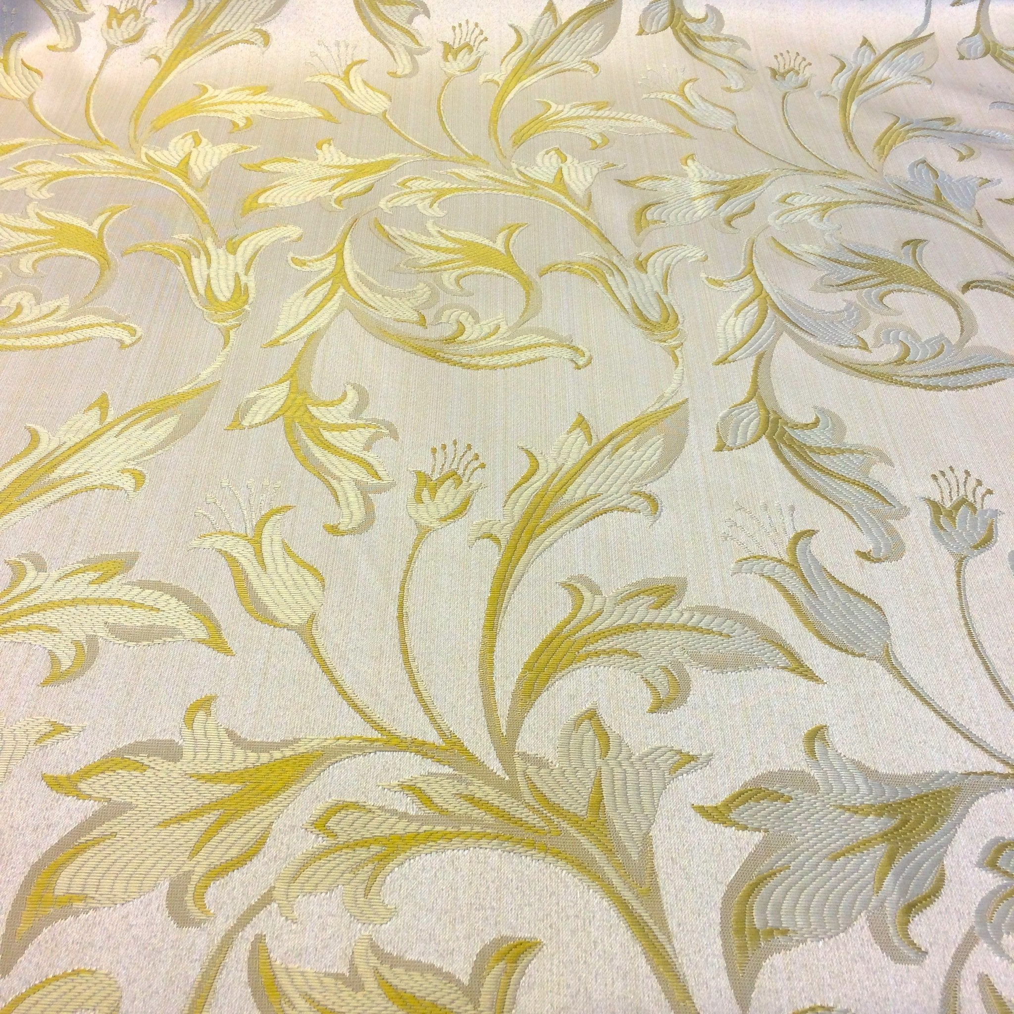Champagne Amp Gold Jacquard Damask Print Fabric 120 Quot Wide