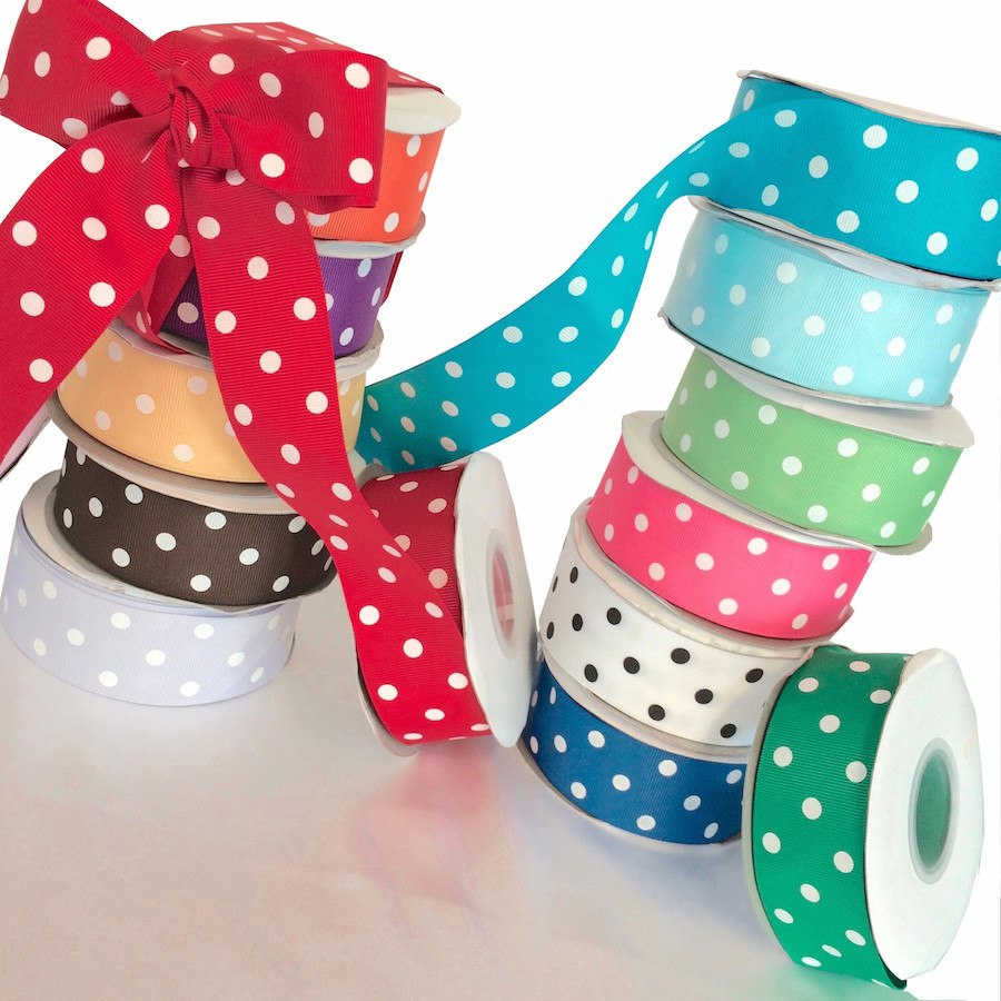 "Grosgrain Ribbon Polka Dot (1.5"") - All Colors Fabric"