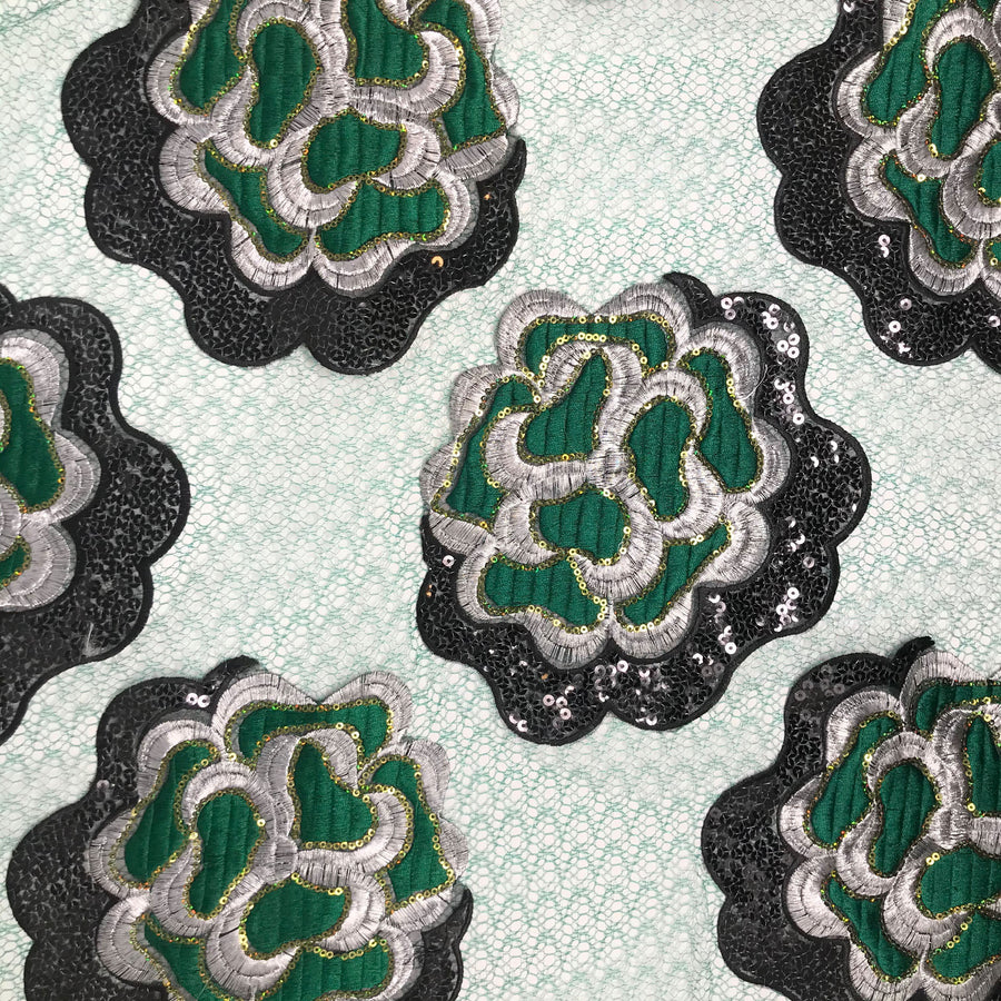 Iris Floral Patch Embroidered Chemical Lace