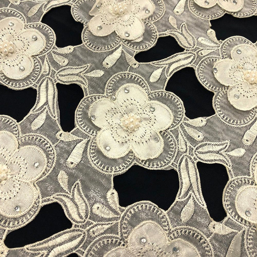 Ivory Floral Embroidery on Ivory Organza Lace
