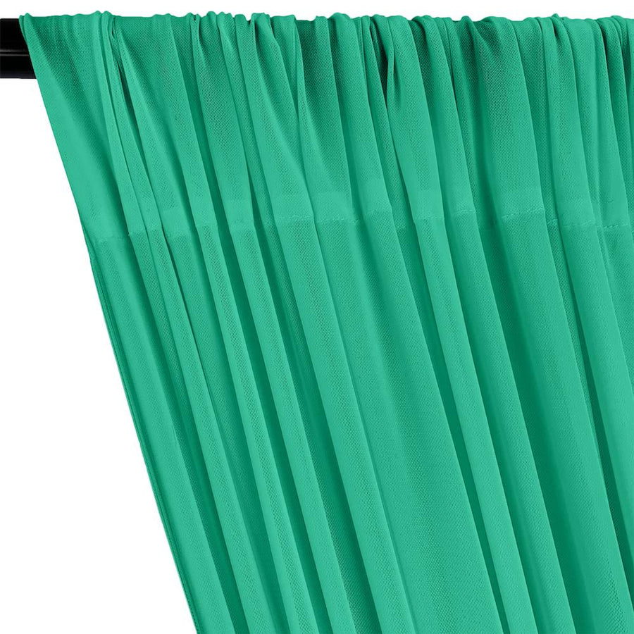 Power Mesh Rod Pocket Curtains - Jade