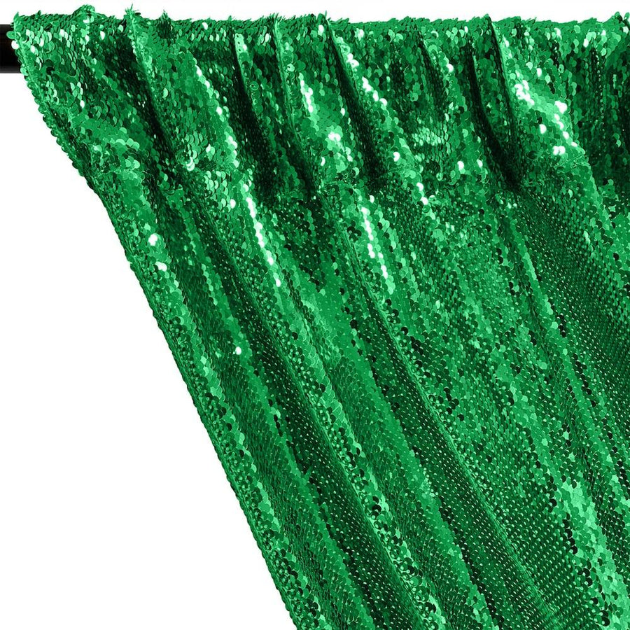 All-Over Sequins Mermaid Scale on Stretch Mesh Rod Pocket Curtains - Kelly Green