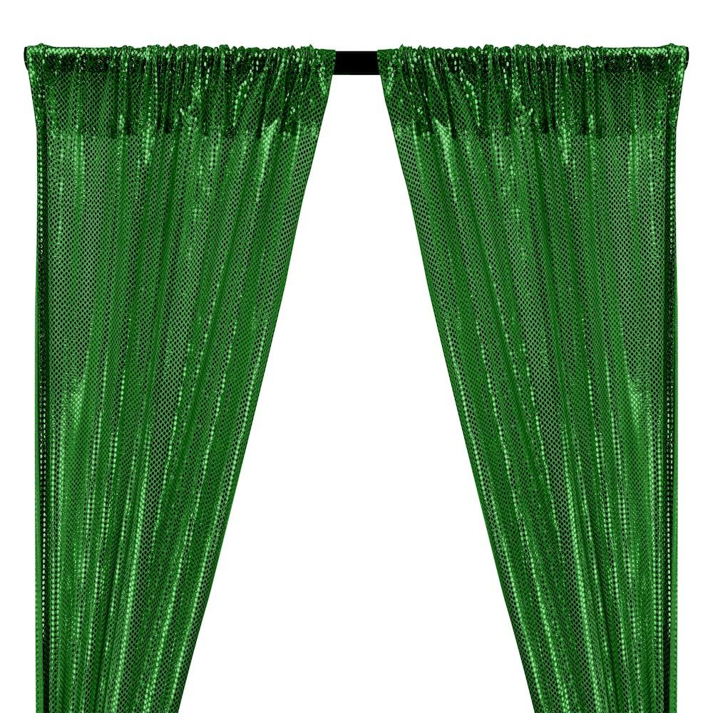 American Trans Knit Sequins Rod Pocket Curtains - Kelly Green