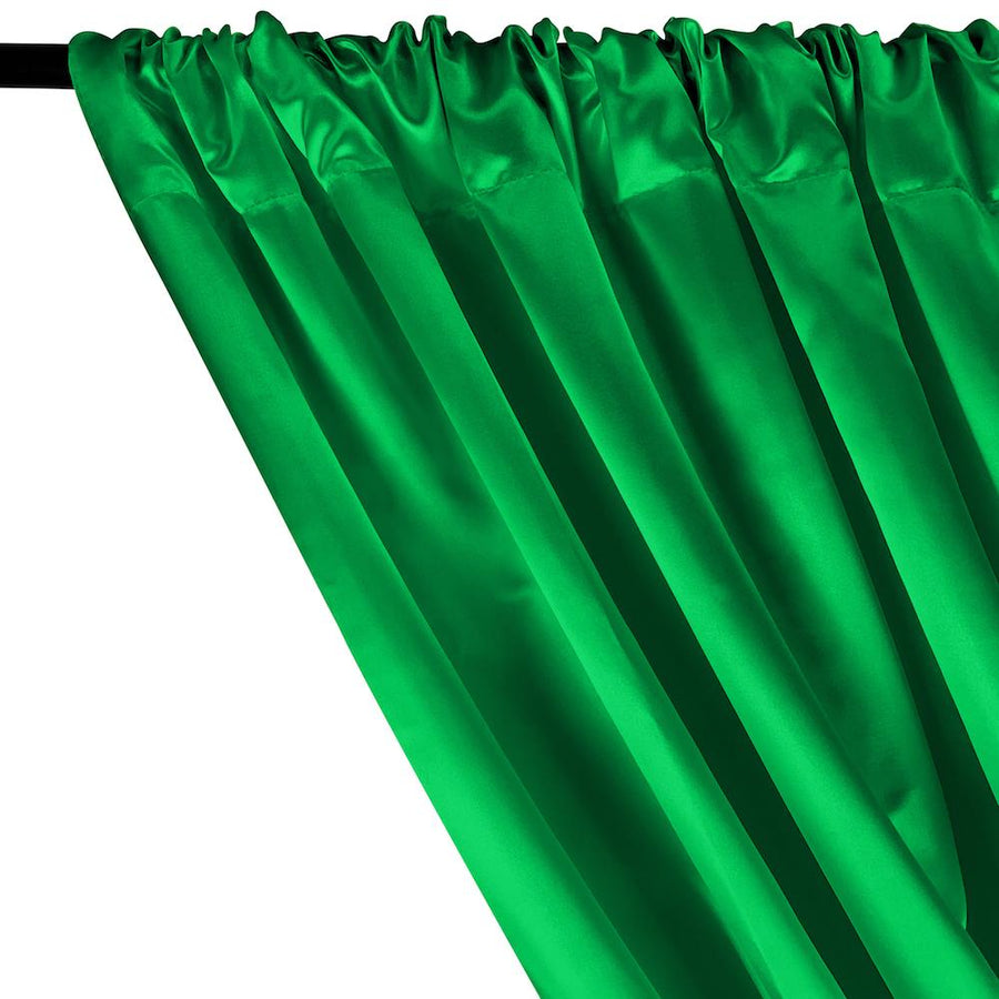 Bridal Satin Rod Pocket Curtains - Kelly Green