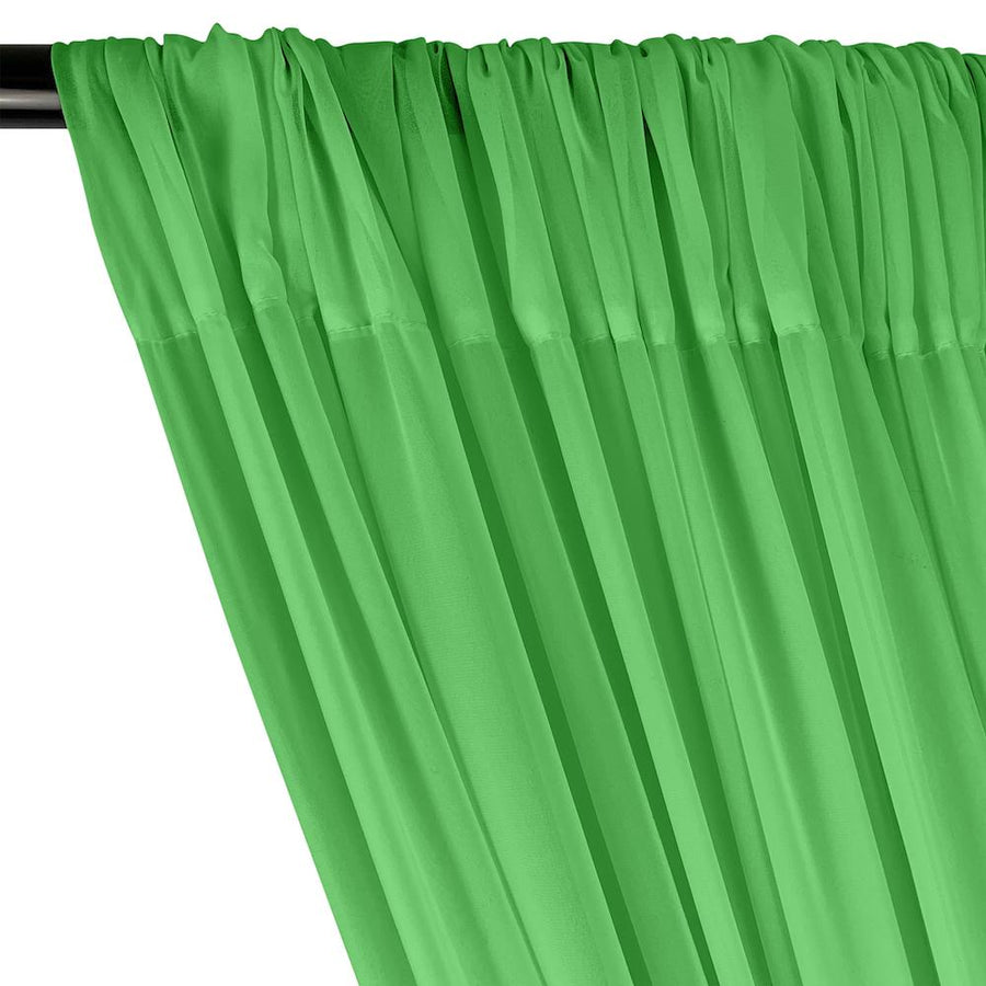 Polyester Chiffon Rod Pocket Curtains - Kelly Green