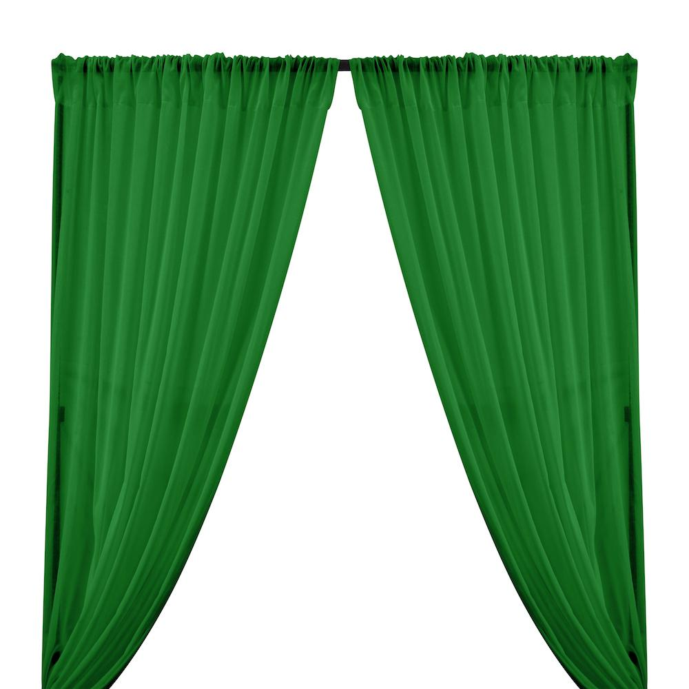 Cotton Voile Rod Pocket Curtains - Kelly Green