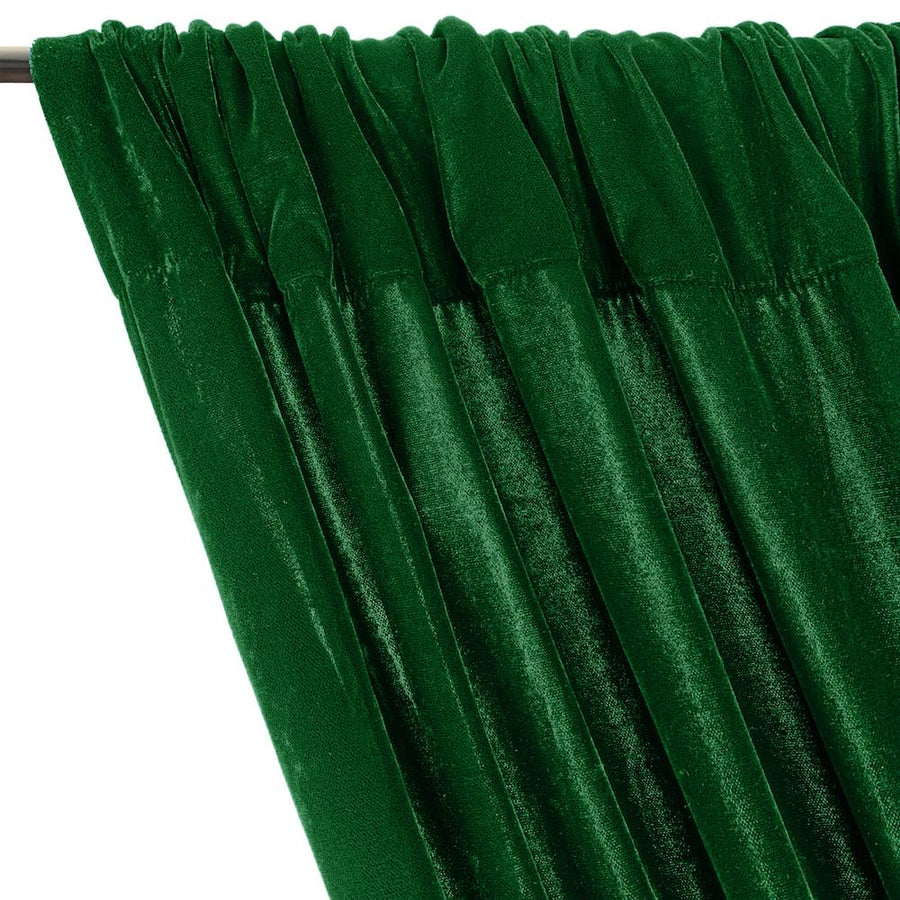 Micro Velvet Rod Pocket Curtains - Kelly Green