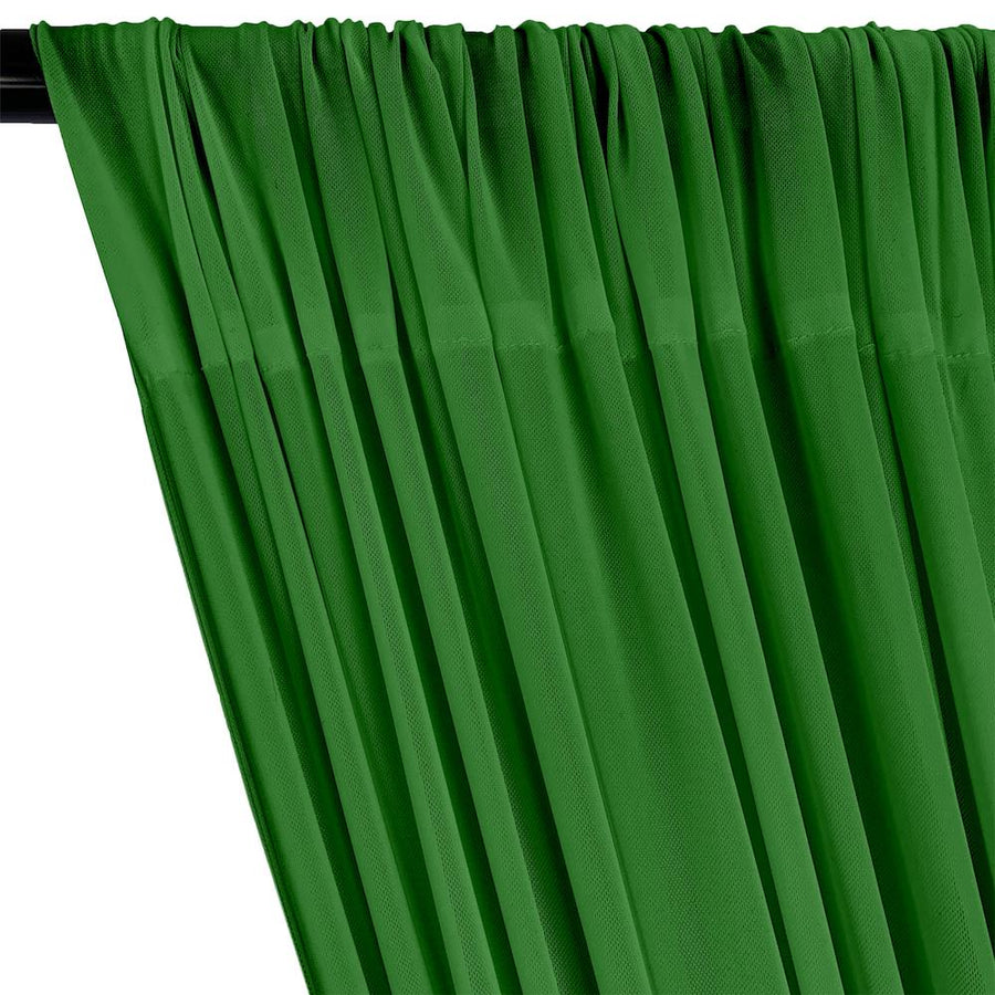 Power Mesh Rod Pocket Curtains - Kelly Green