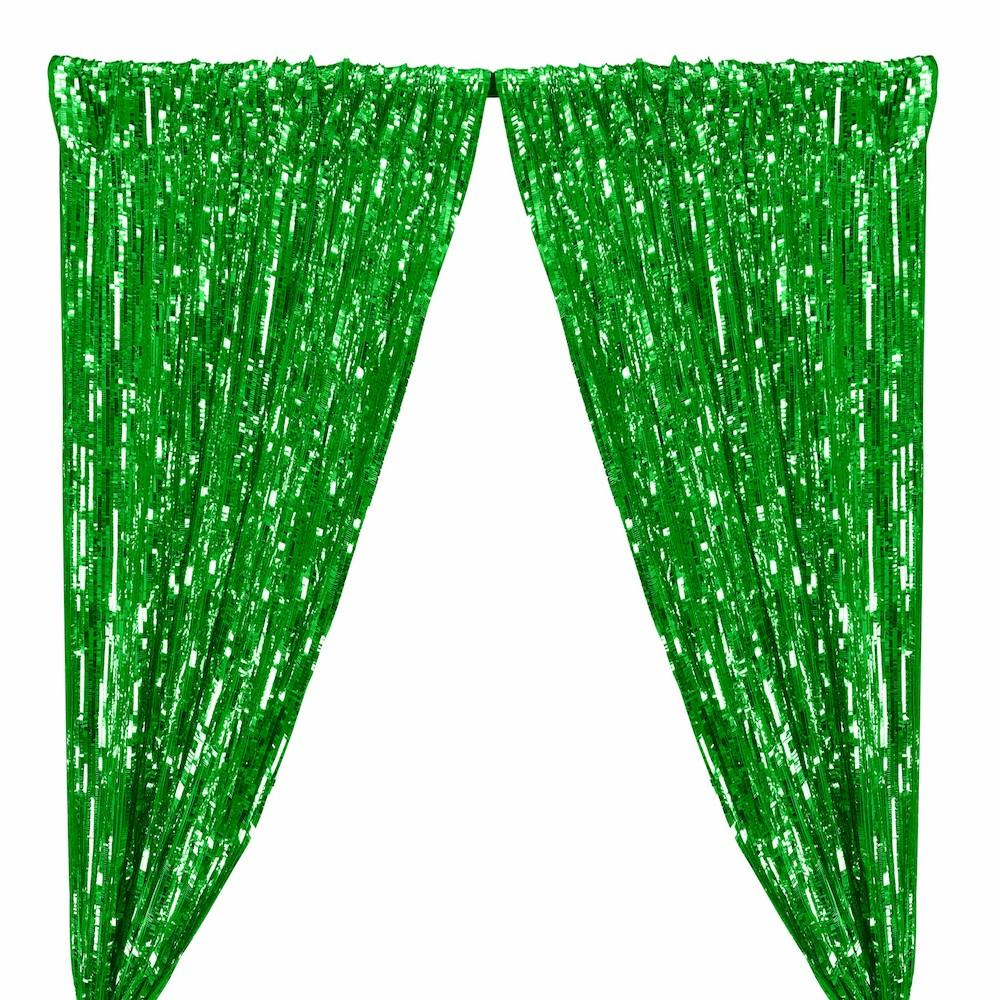 Rectangle Piano Sequins Rod Pocket Curtains - Kelly Green