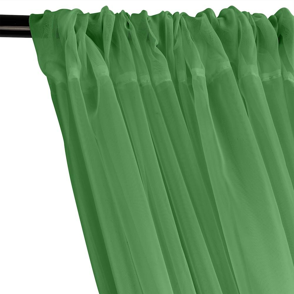 Sheer Voile Rod Pocket Curtains - Kelly Green