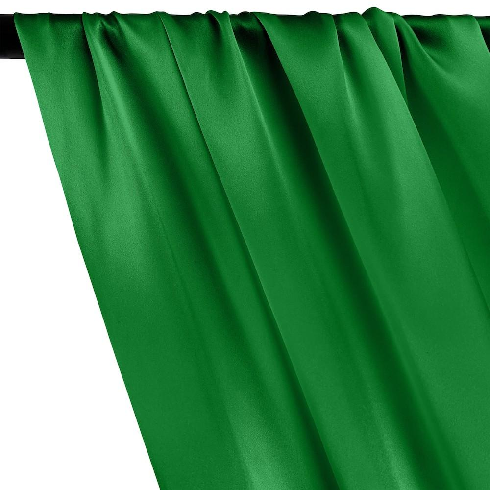 Silk Charmeuse Rod Pocket Curtains - Kelly Green