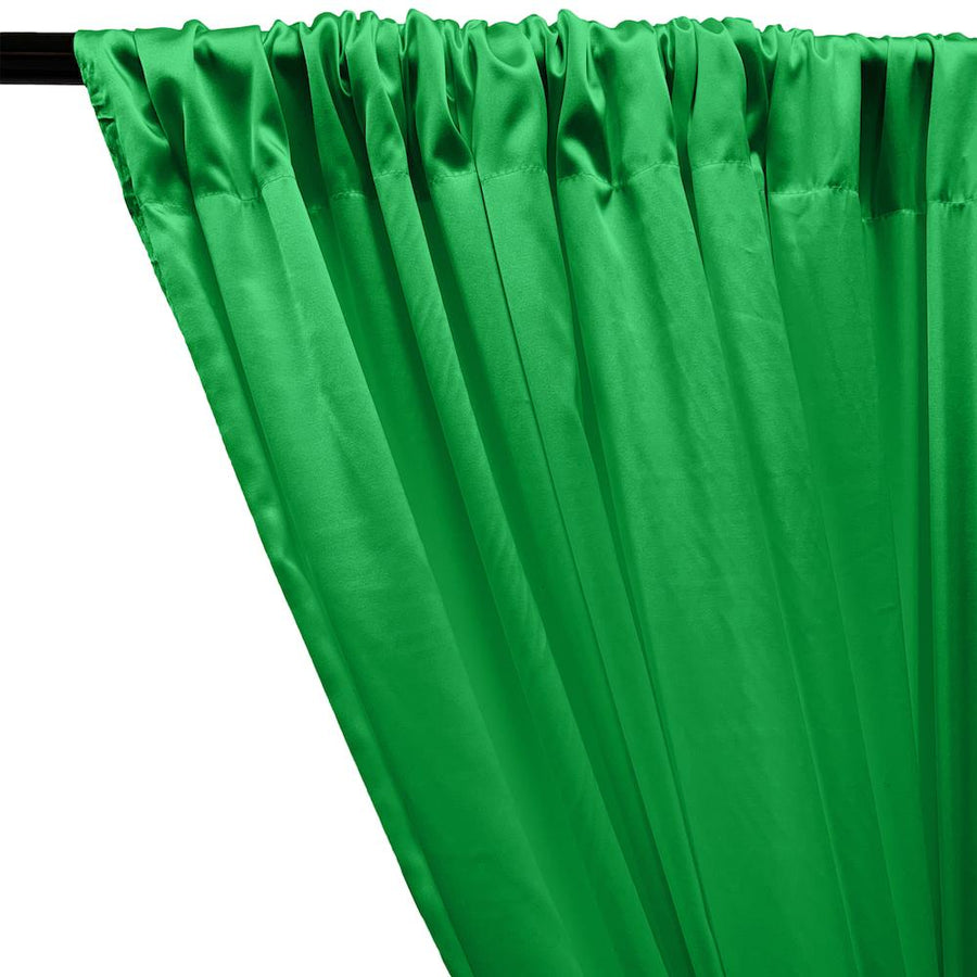 Stretch Charmeuse Satin Rod Pocket Curtains - Kelly Green