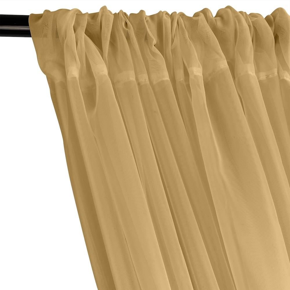 Sheer Voile Rod Pocket Curtains - Khaki